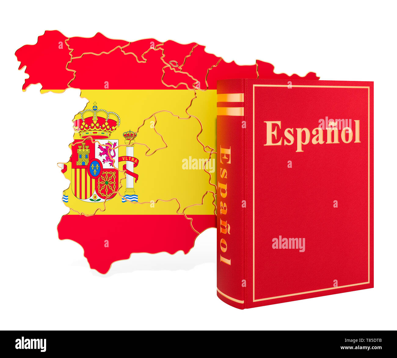 Language Map Of Spain.Spanish Language Book With Map Of Spain 3d Rendering Isolated On