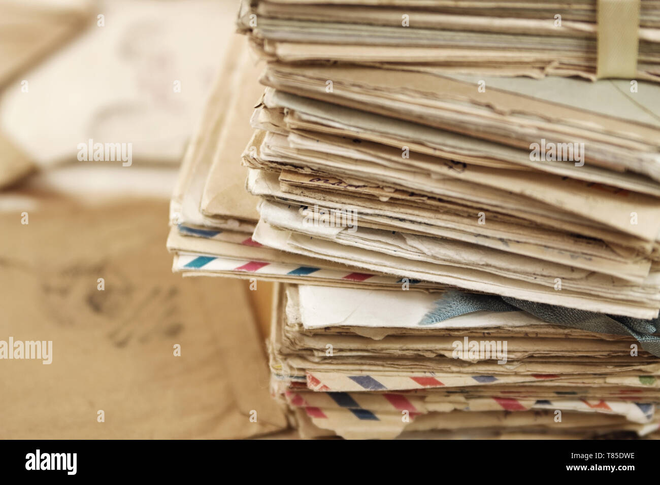 Pile of the old paper postal correspondence - Stock Image