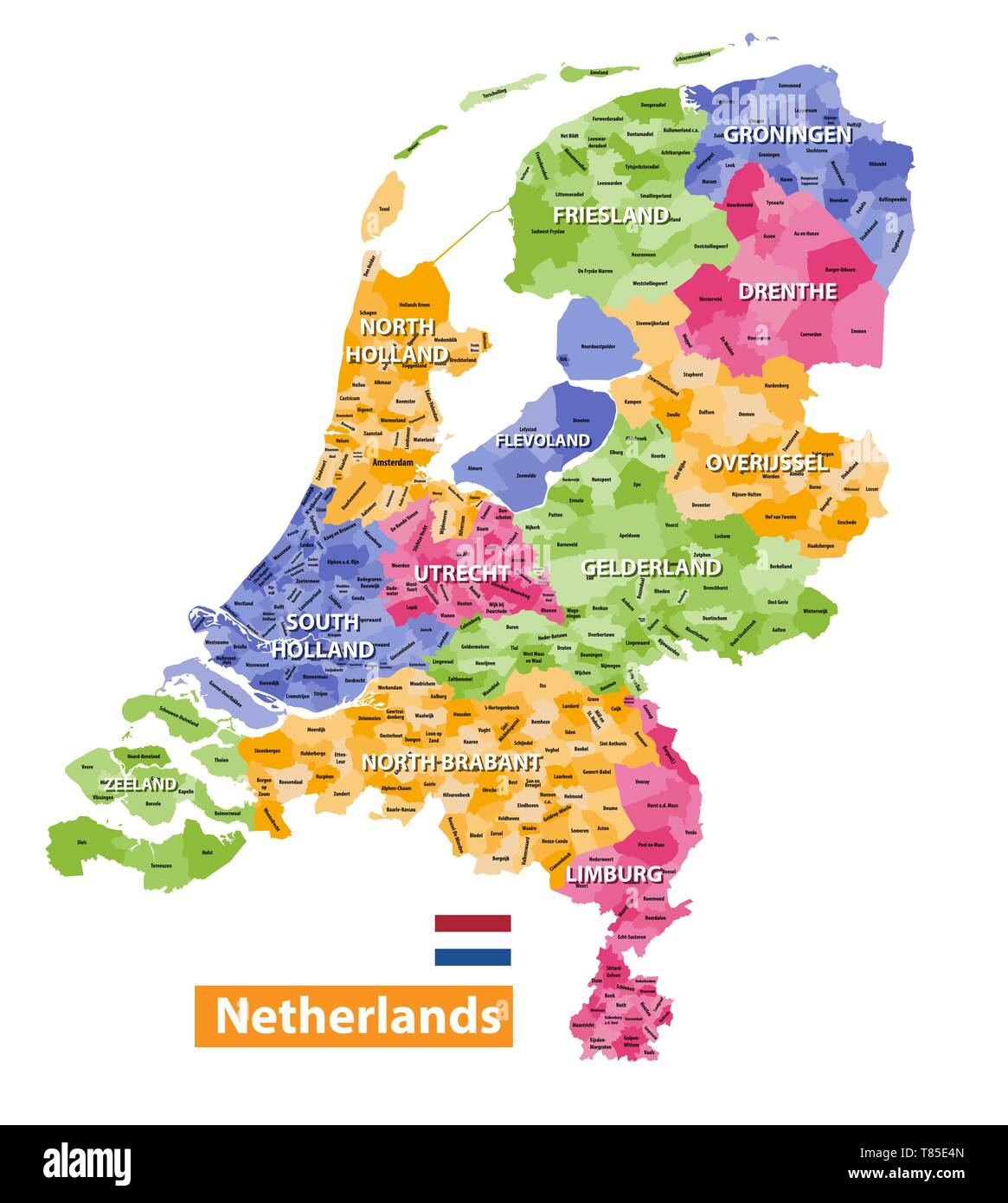 Netherlands high detailed local municipalities map colored by provinces Stock Vector