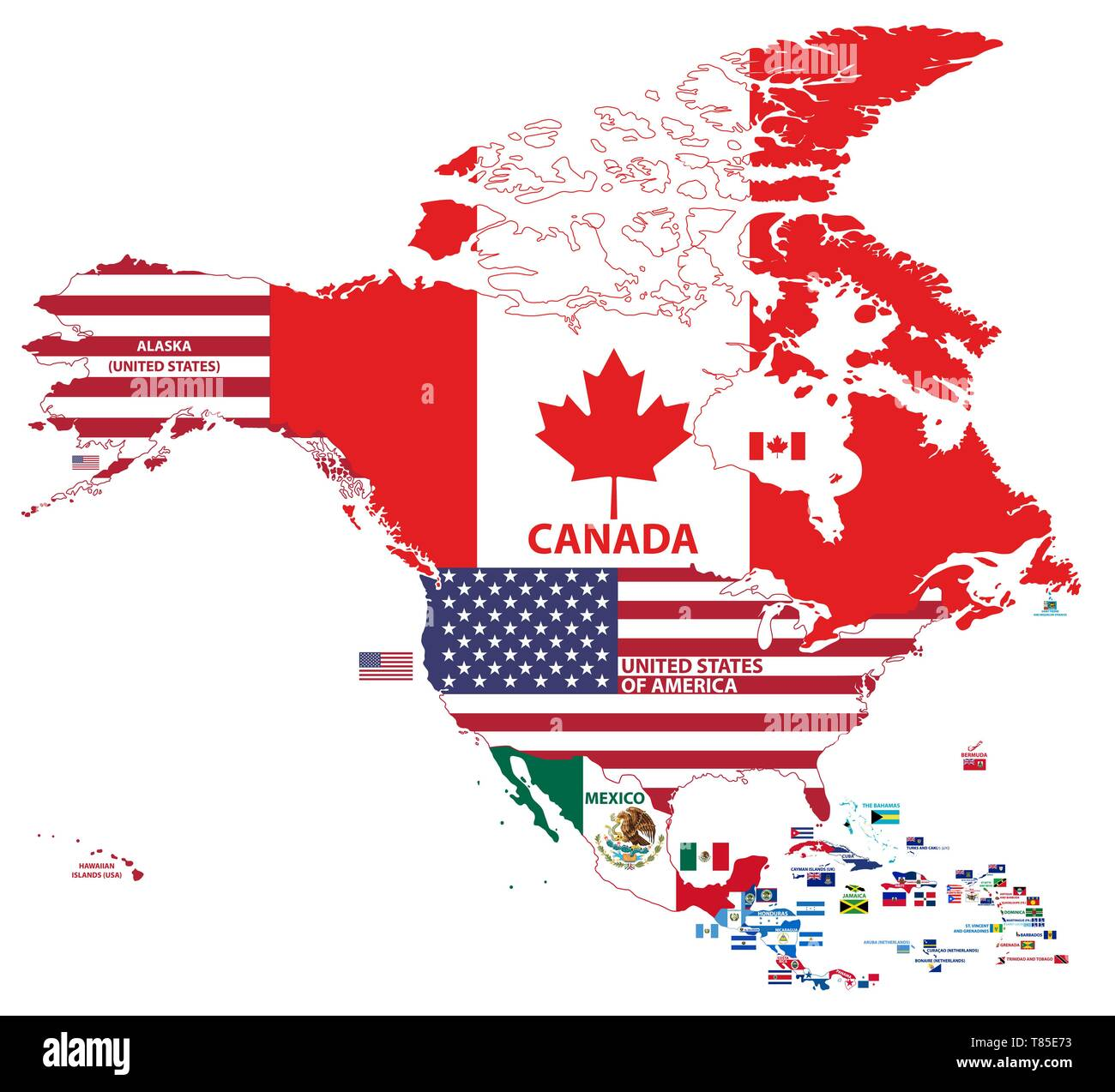 Image of: Vector Illustration Of North America Map Include Northern America Central America And Caribbean Regions With Country Names And Flags Of Countries Stock Vector Image Art Alamy