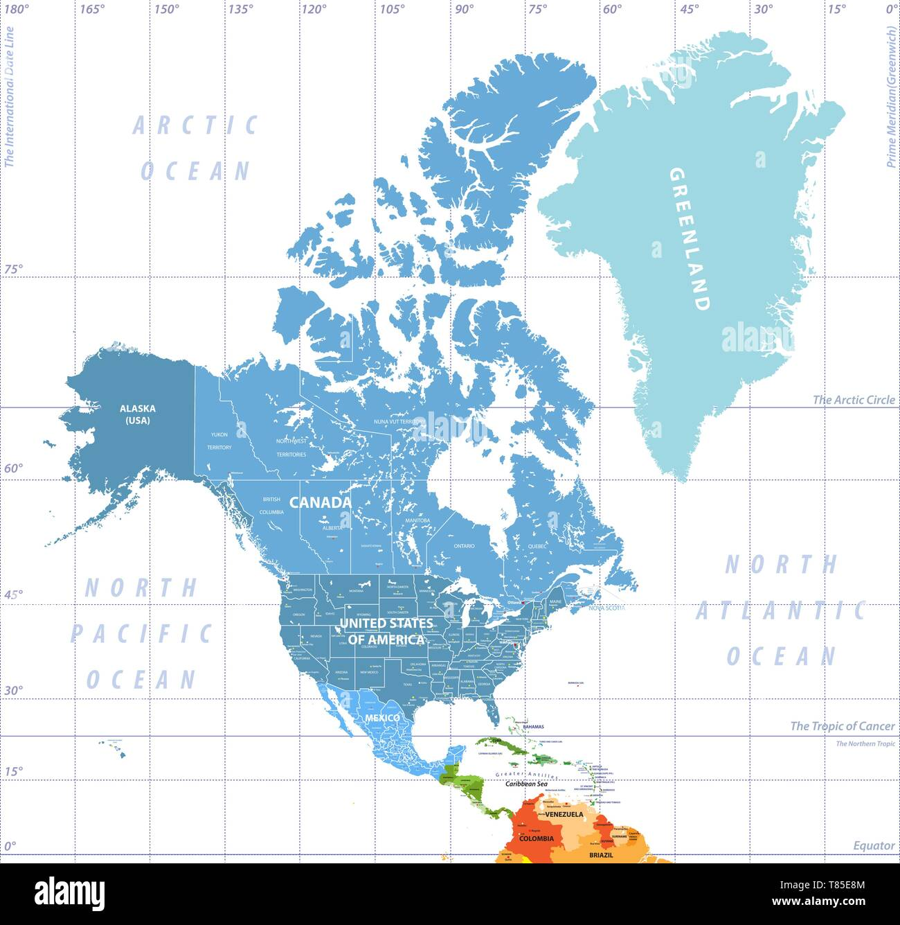 North America high detailed vector map with states borders ...