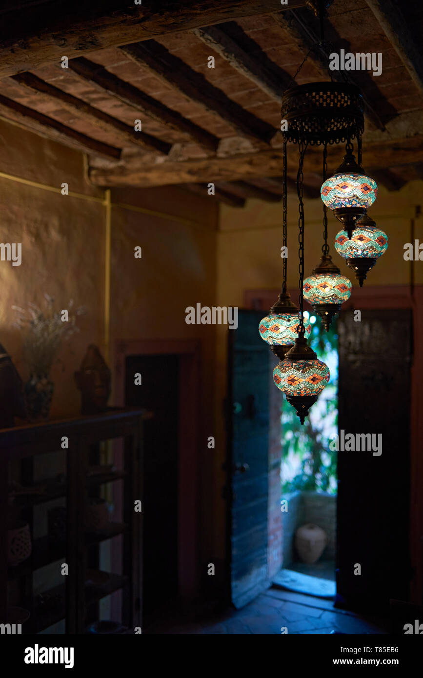 Beautiful typical Toscan interior with lighting hanging - Stock Image