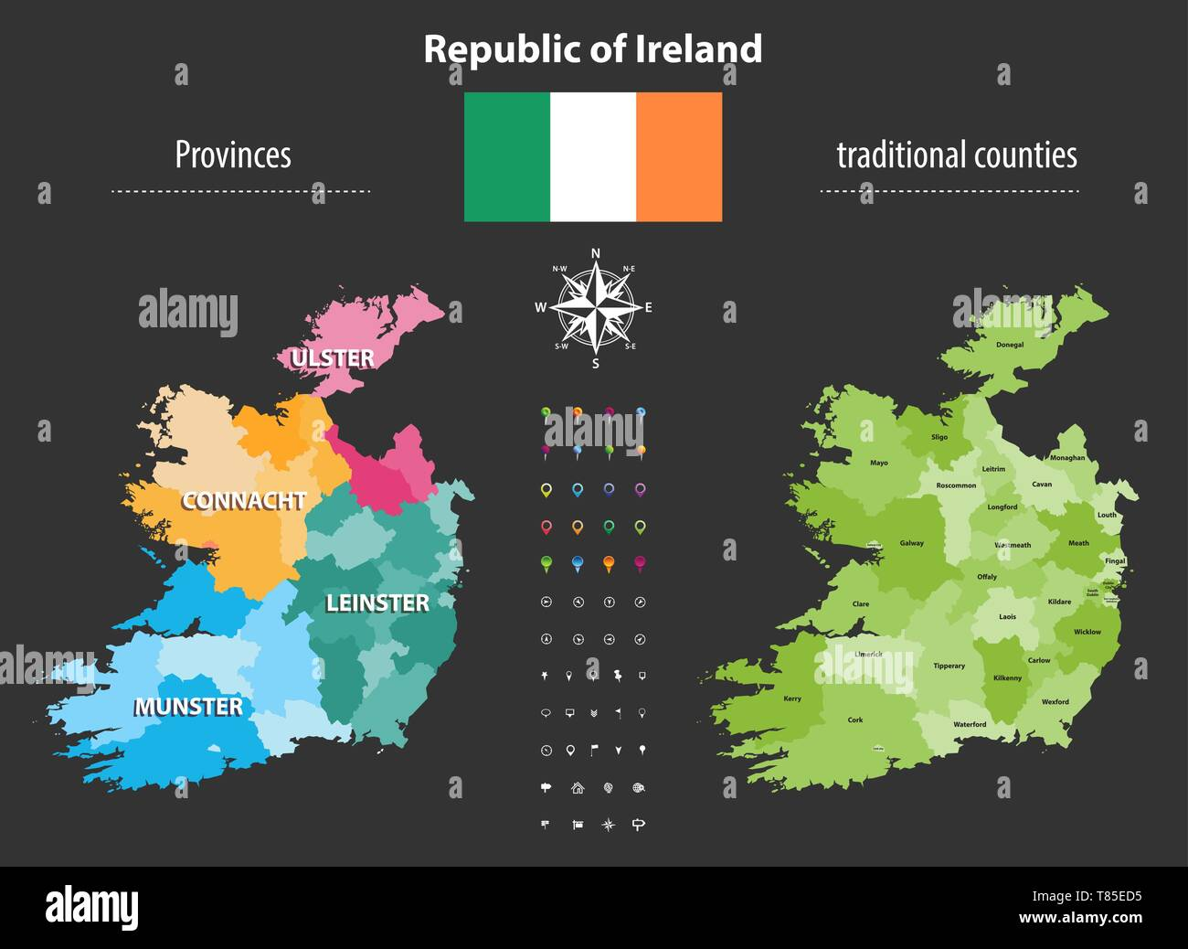 Map Of Ireland Provinces And Counties.Republic Of Ireland Provinces And Traditional Counties Vector Map