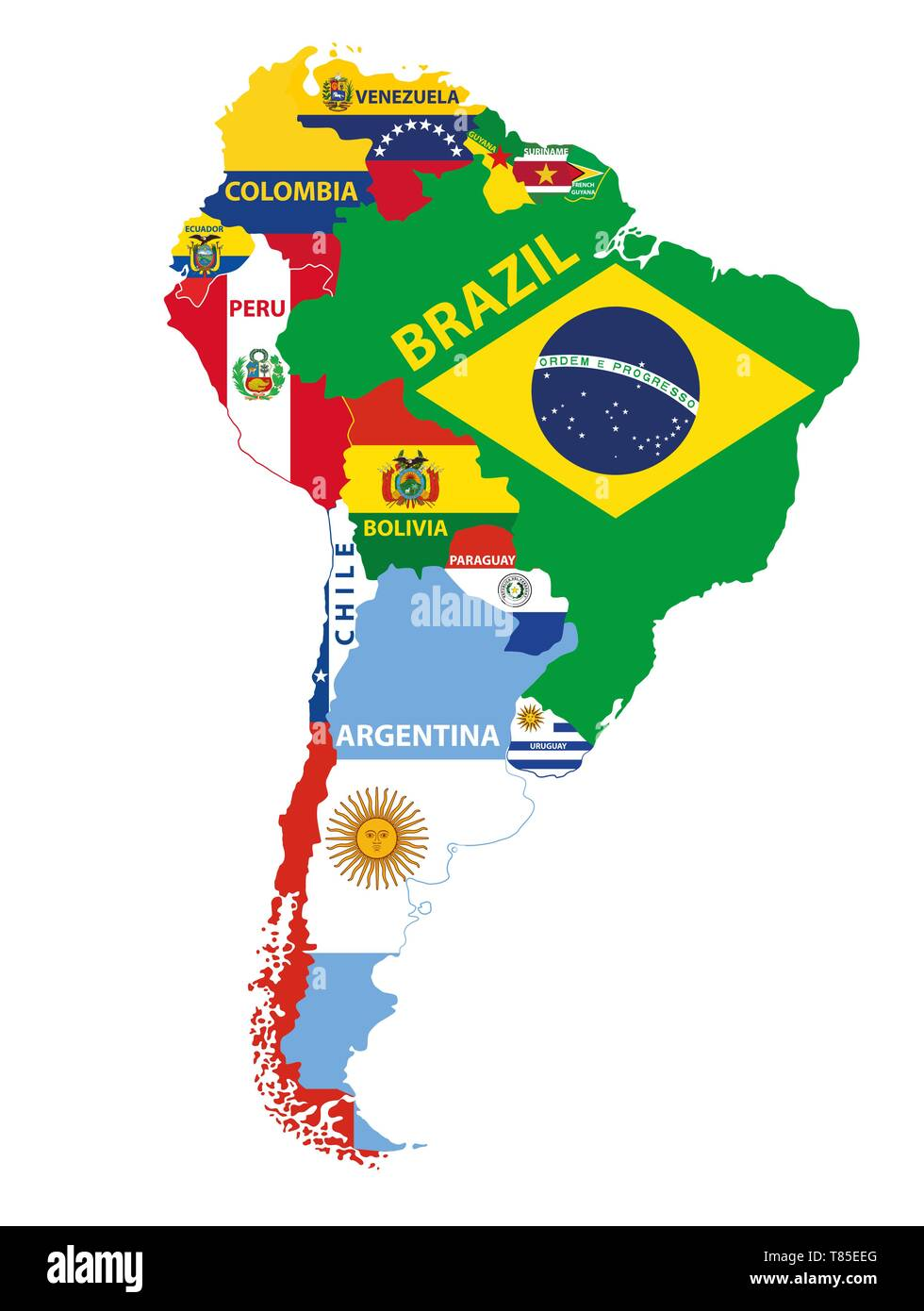 South America map mixed with countries flags. Vector ...