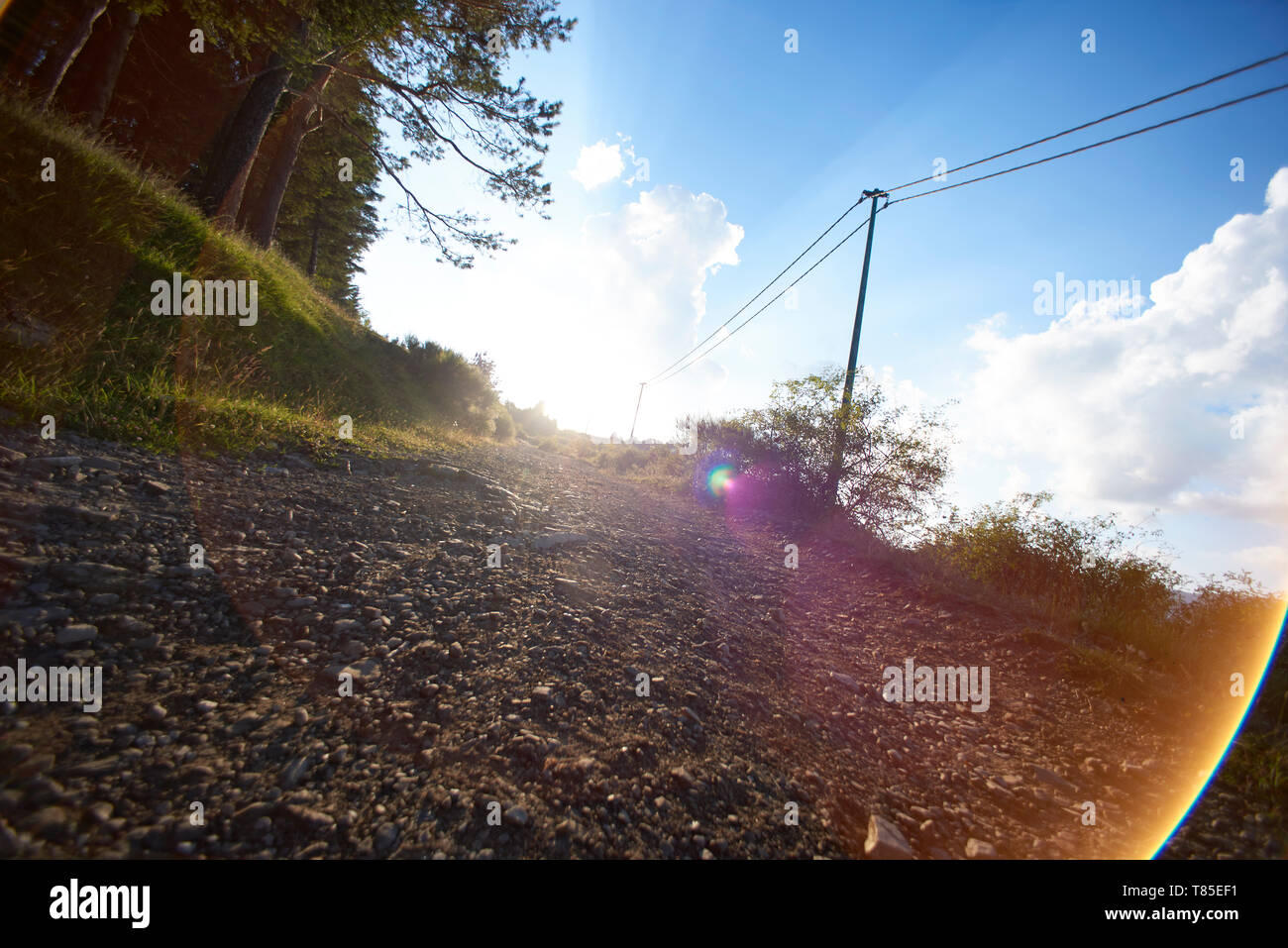 Low angle shot of a dirt road up a hill with sun flaring directly into the lens - Stock Image