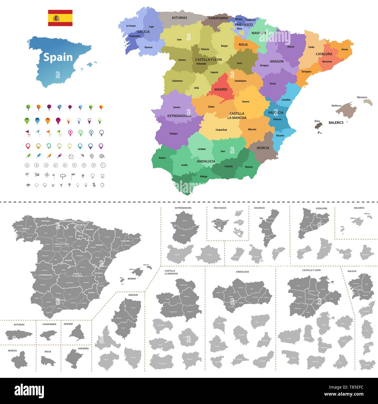 Spain high detailed vector map (colored by autonomous communities) with administrative divisions Stock Vector