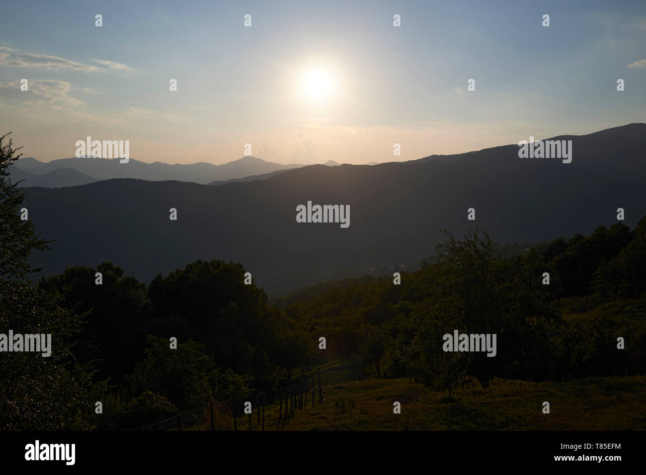 Mountains at La Spezia region in the North of Italy - Stock Image