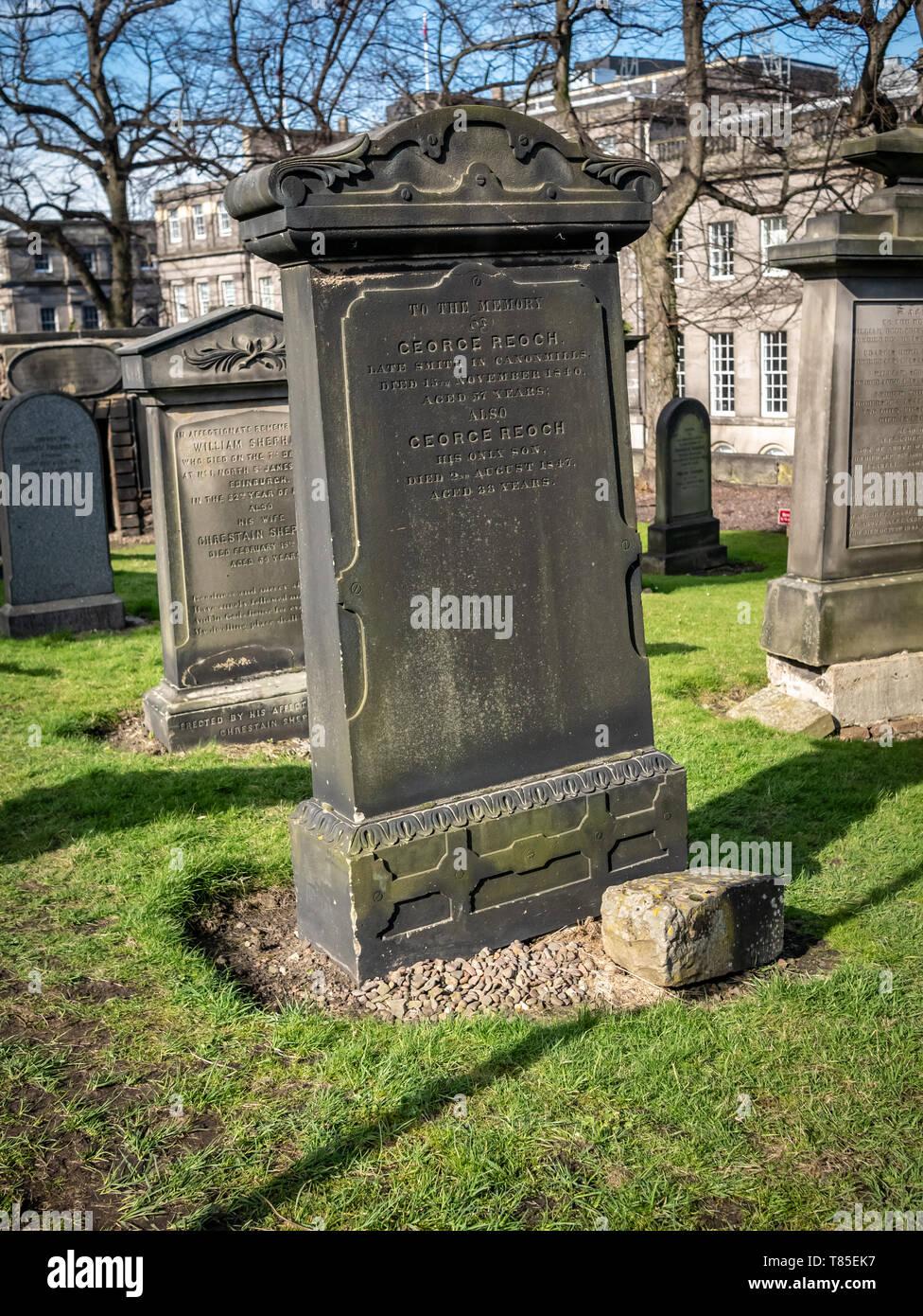 George Reoch's Gravestone Old Calton Burial Ground Edinburgh Stock Photo