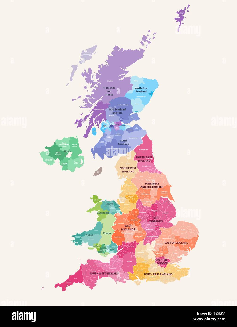 vector map of United Kingdom administrative divisions colored by countries and regions - Stock Vector