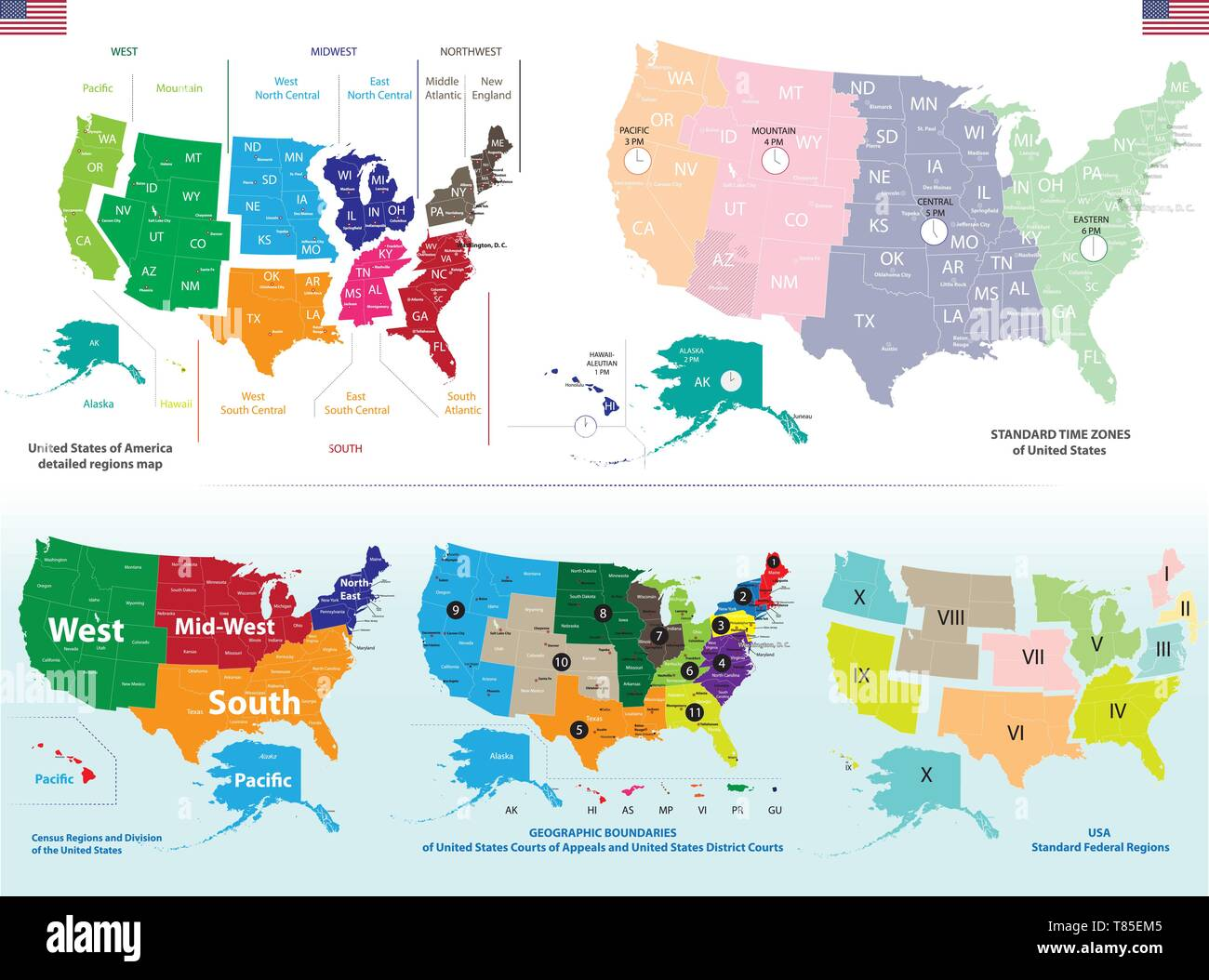 Time Zone Map United States High Resolution Stock Photography And Images Alamy