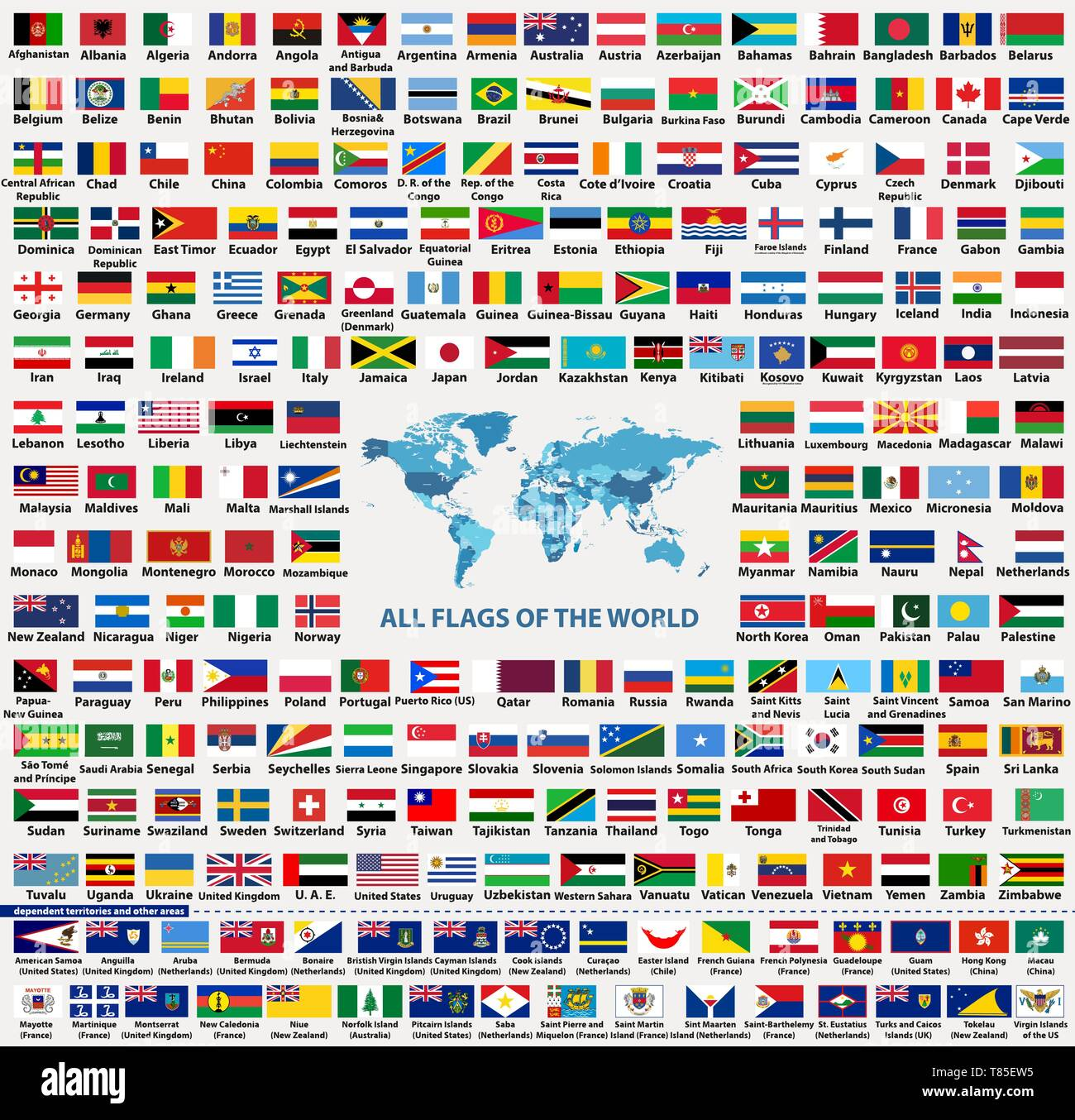 Vector Set Of All World Flags Arranged In Alphabetical Order Isolated On White Background World Map With Countries Names And Borders Stock Vector Image Art Alamy