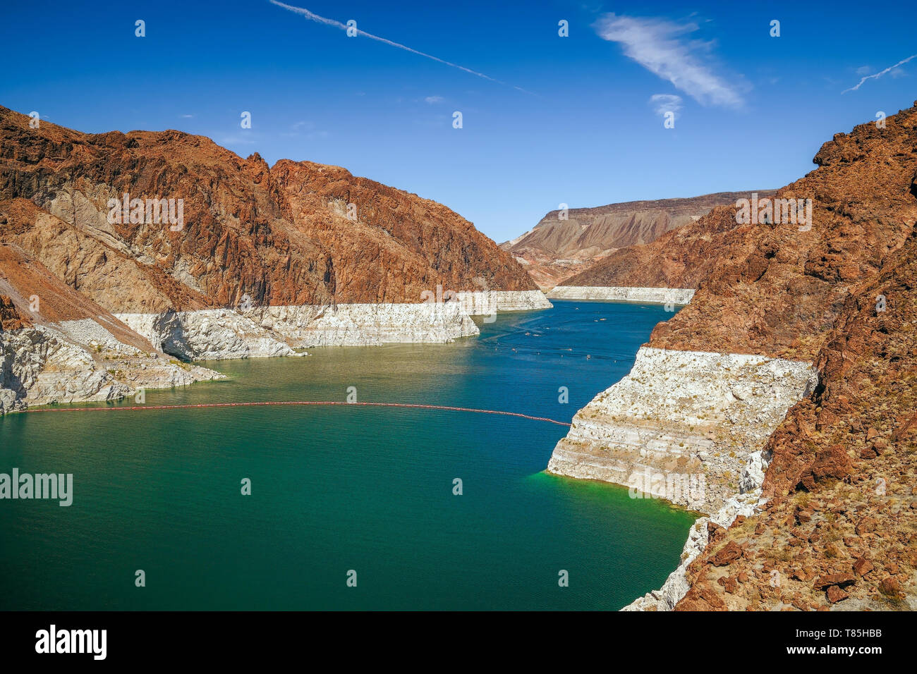 Low water in Lake Mead in autumn. View from the Arizona side. USA Stock Photo