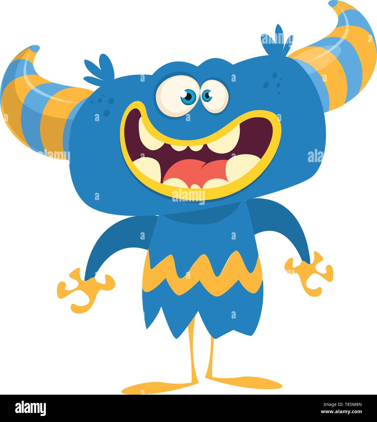 Happy cartoon monster with horns. Vector illustration - Stock Image