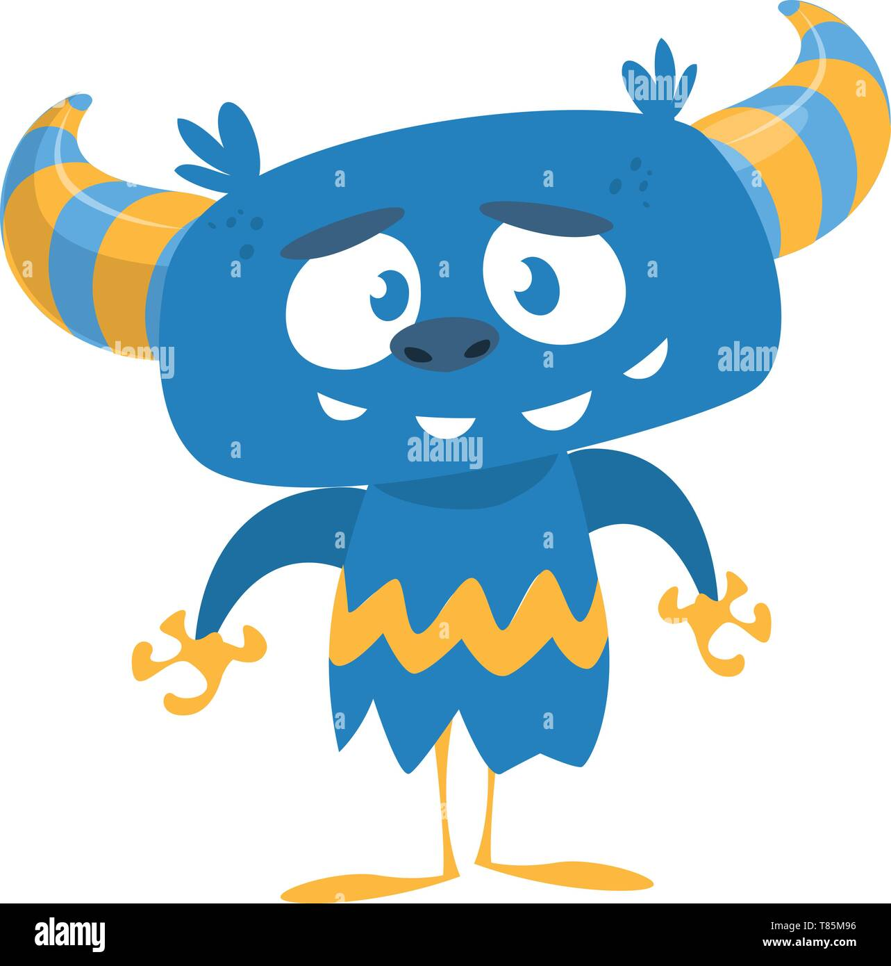 Cartoon blue monster. Vector illustration isolated on white - Stock Image