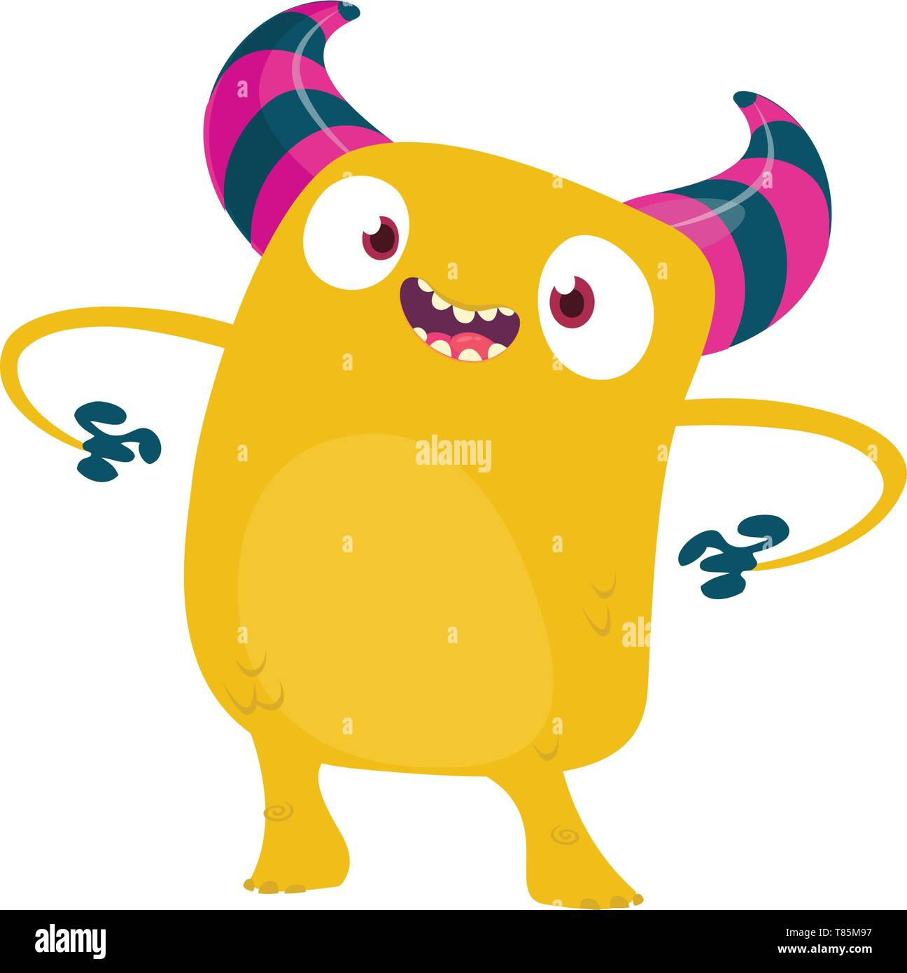 Cartoon Halloween Scary Monster. Vector yellow monster character illustration. - Stock Image