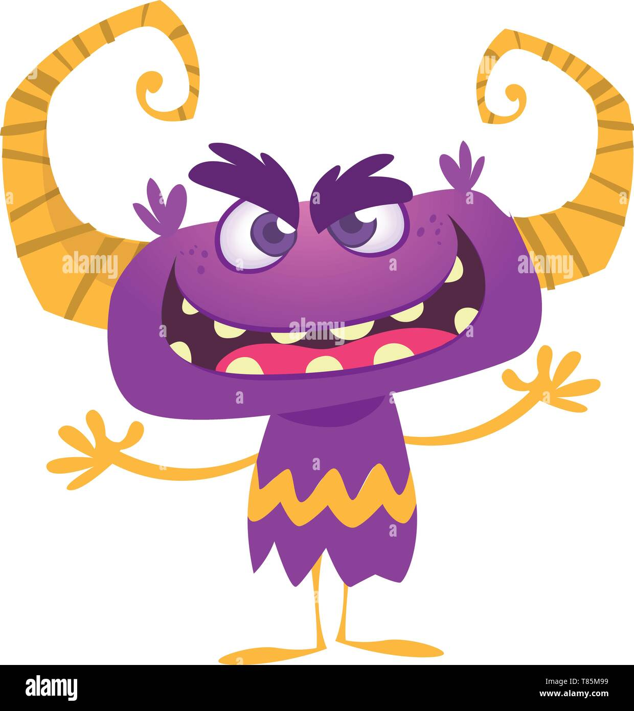 Angry cartoon monster. Vector illustration for Halloween party decoration. Postcard design - Stock Image
