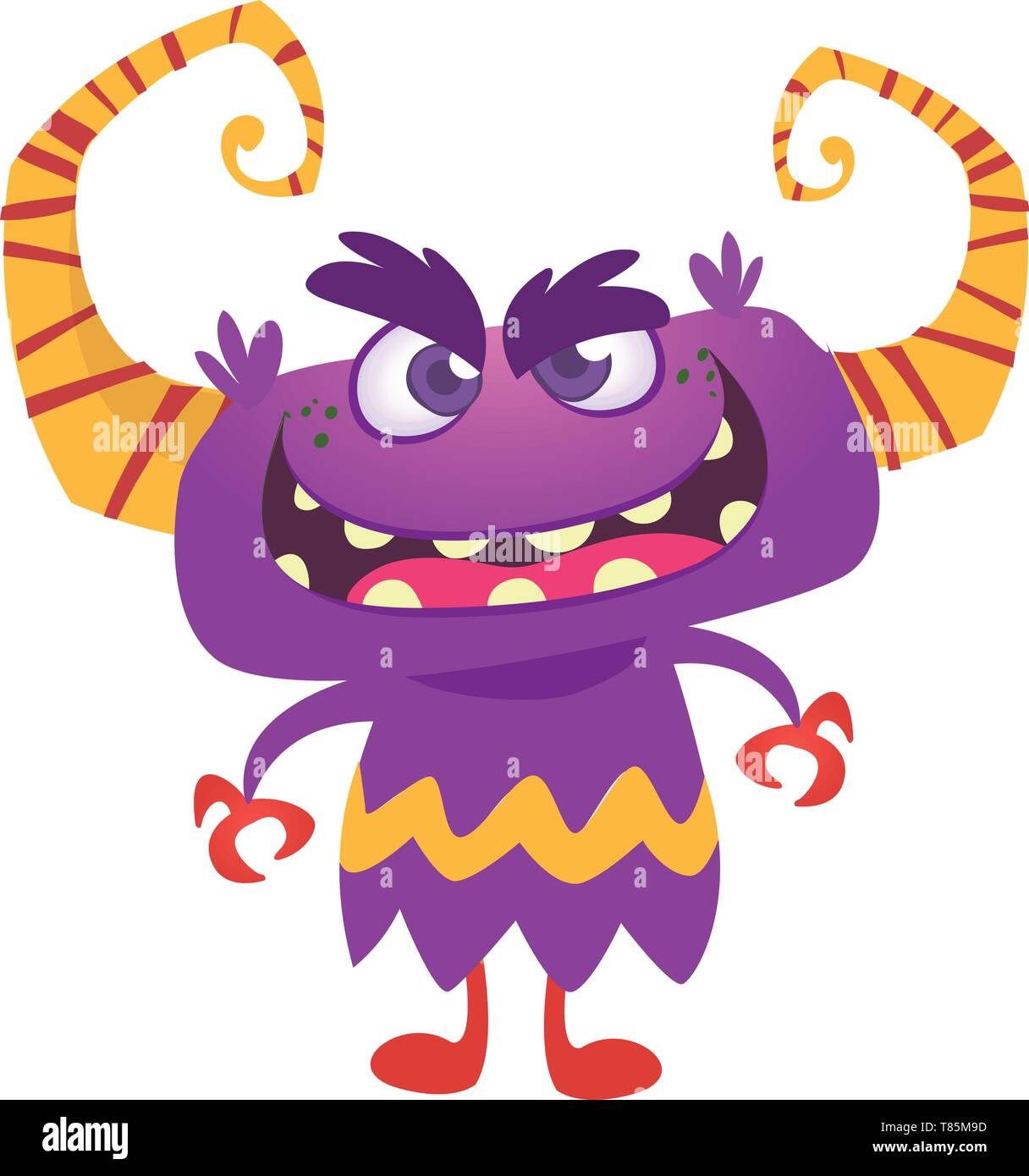 Angry cartoon monster with horns. Vector illustration - Stock Image