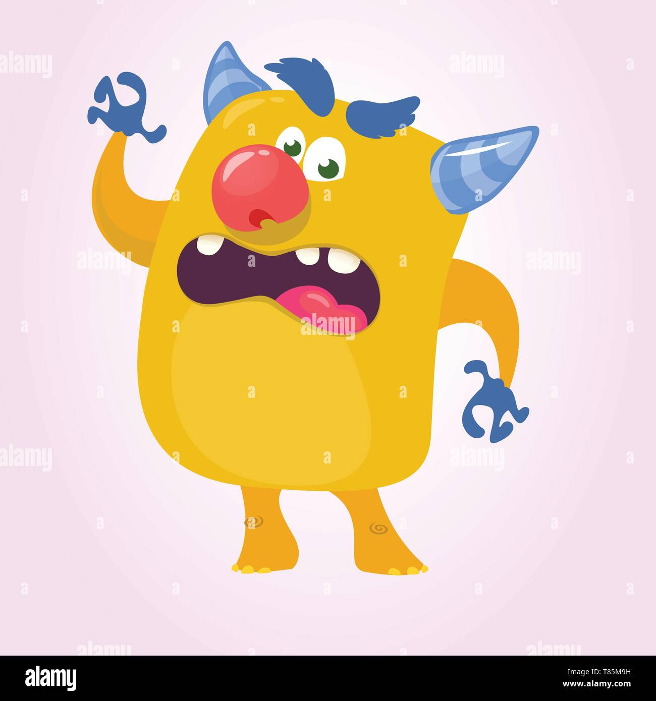 Cartoon Scary Monster With Big Mouth Laughing and waving. Vector yellow monster character illustration. Halloween design - Stock Image