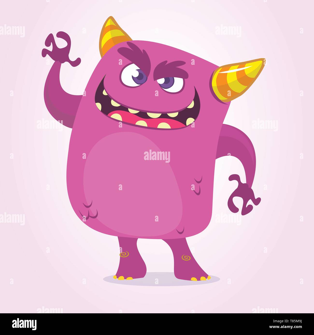 Cartoon Scary Monster With Big Mouth waving. Vector purple monster character illustration. Halloween design - Stock Image