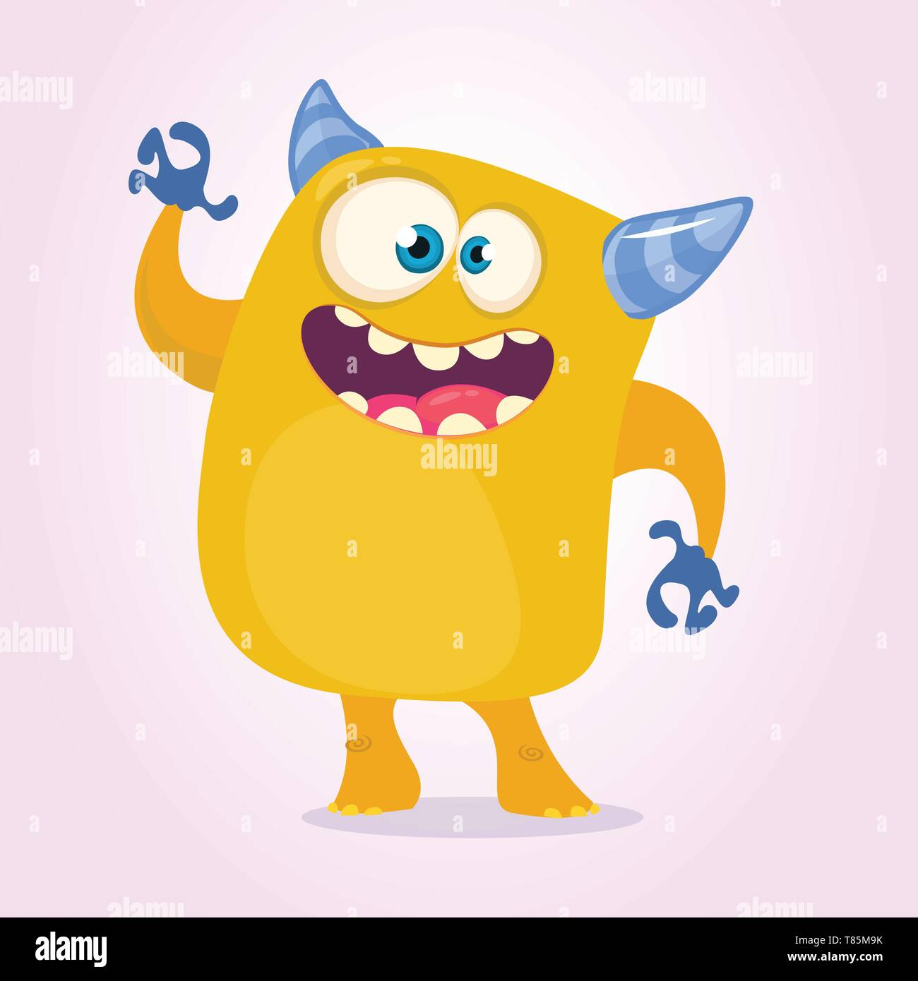 Happy cartoon monster. Halloween vector orange and horned monster. Funny monster expressions - Stock Image