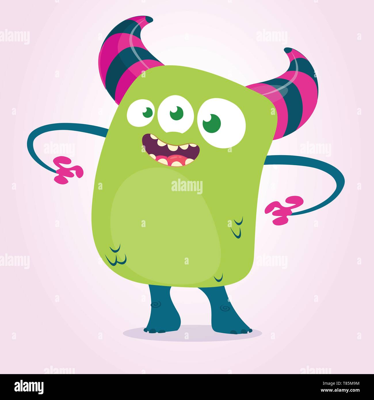 Cute cartoon  monster with hornsand three eyes. Vector illustration - Stock Image