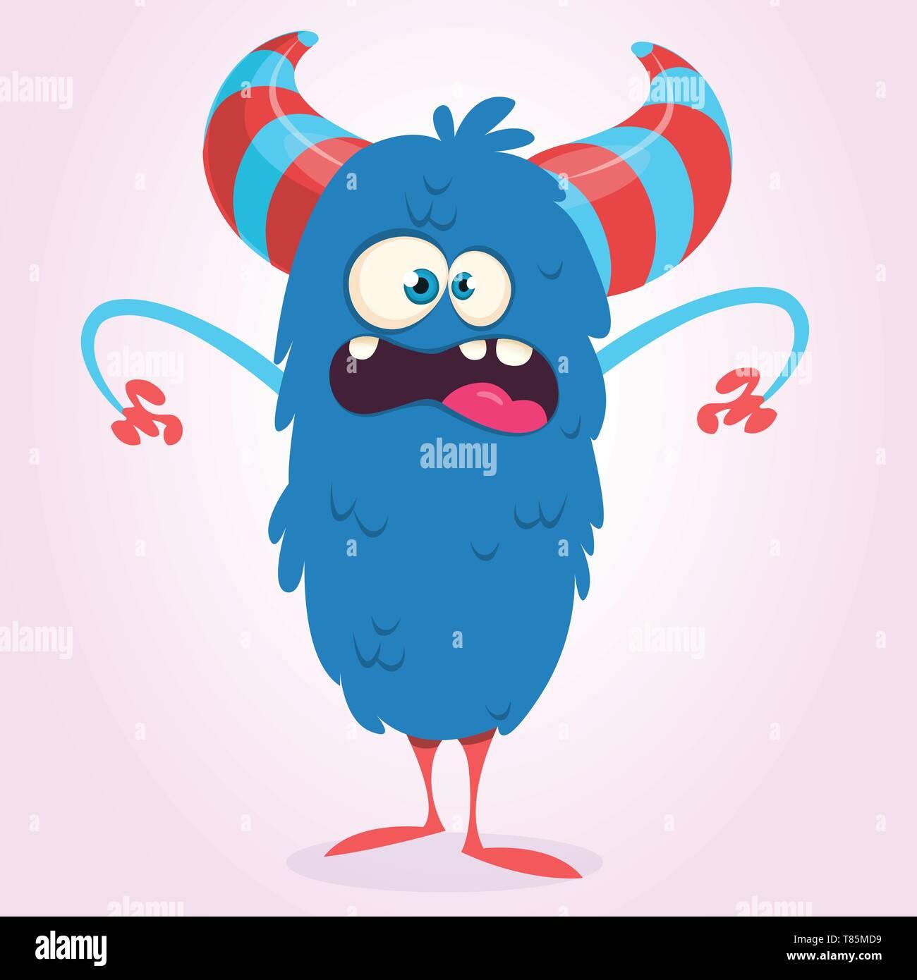 Happy Blue Cartoon Monster Bigfoot Or Yeti Vector Halloween