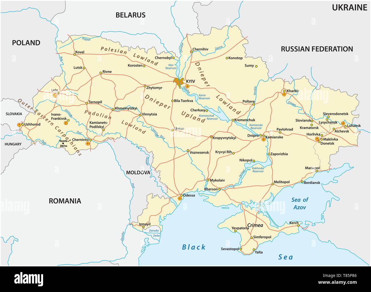 detailed colored vector road map of ukraine - Stock Image