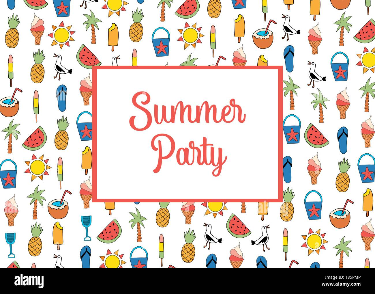 Summer Party Invitation Card Template Vector With Summer