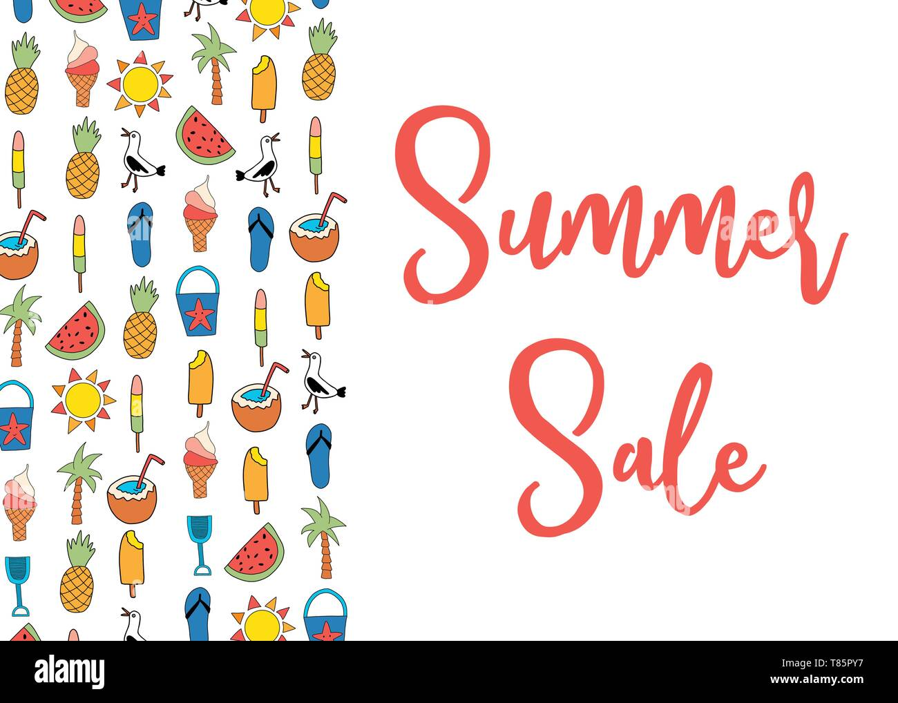 Sale banner vector with summer icons pattern  Watermelon