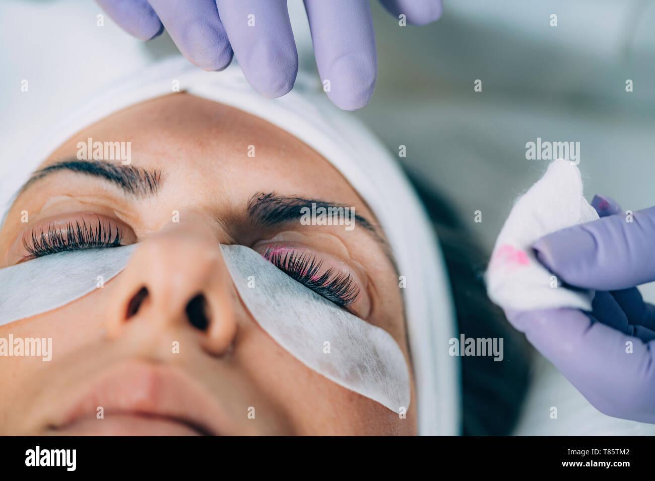 Keratin lash lift procedure - Stock Image