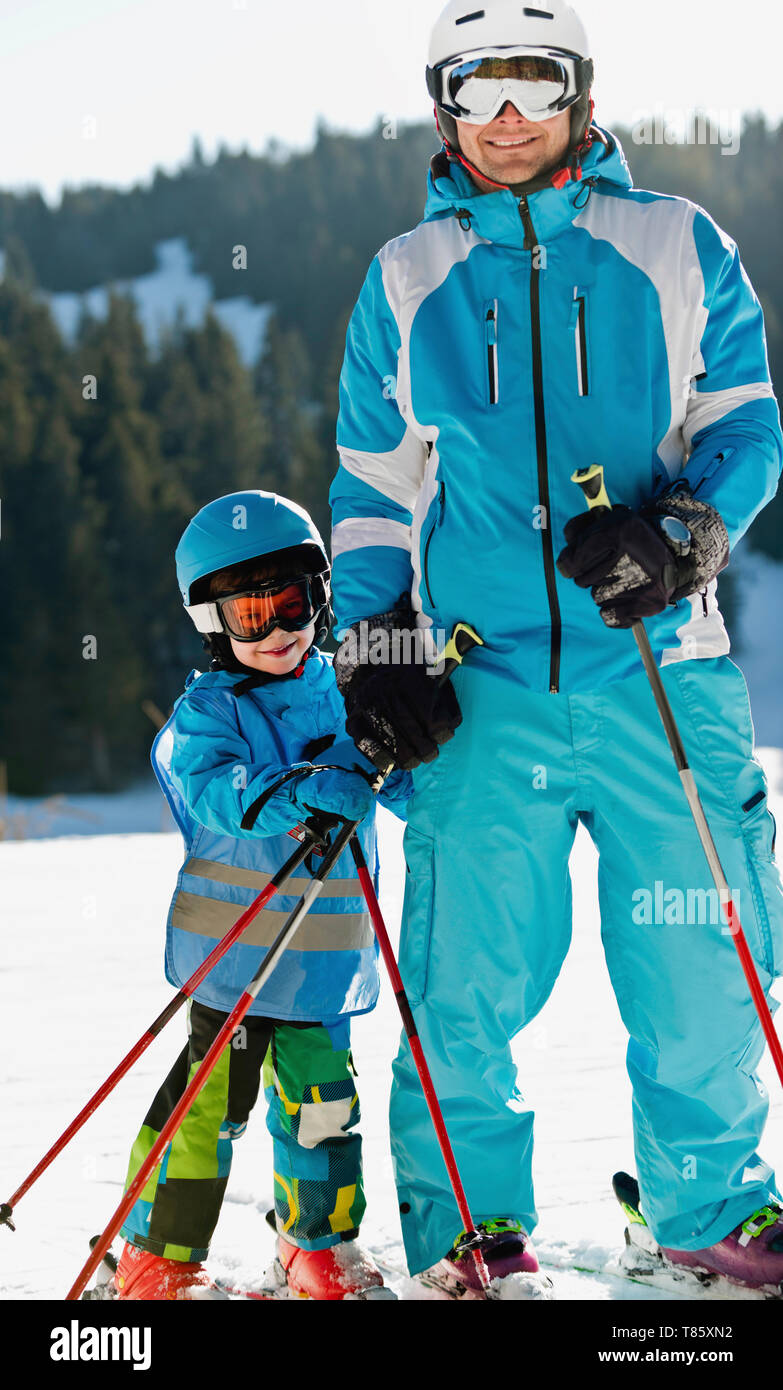 Boy having skiing lesson Stock Photo