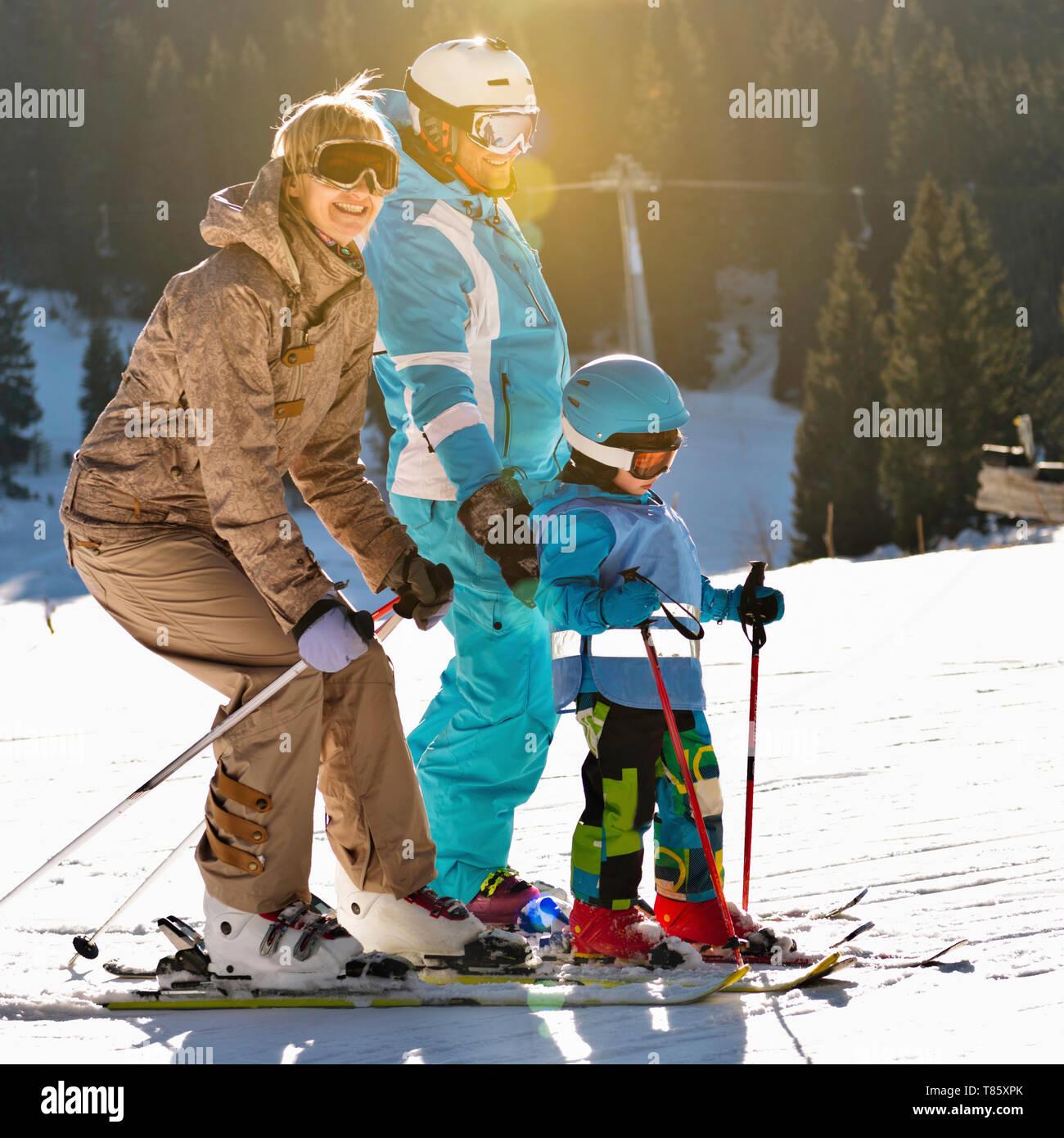Family on skiing holiday Stock Photo