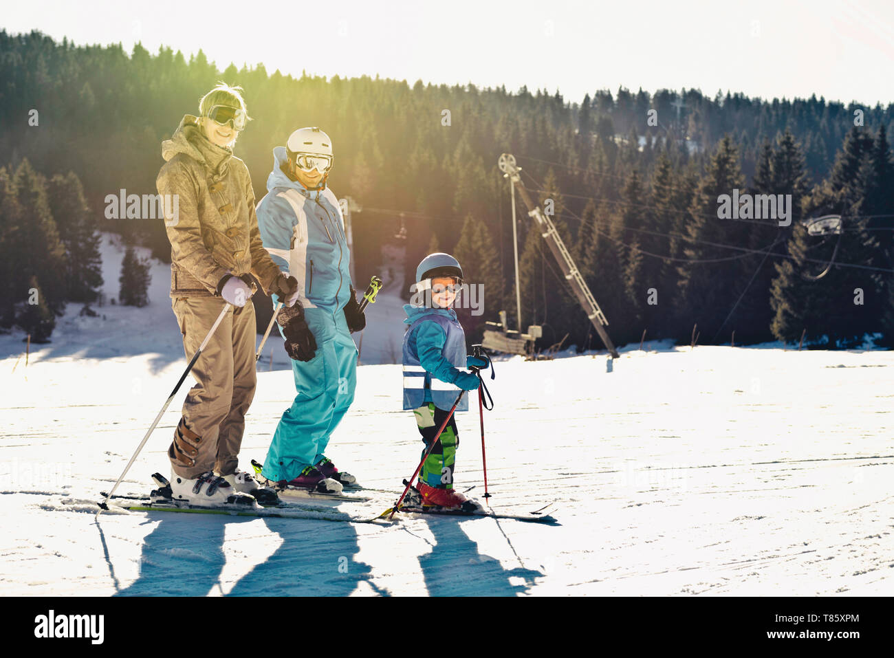 Family on skiing holiday - Stock Image