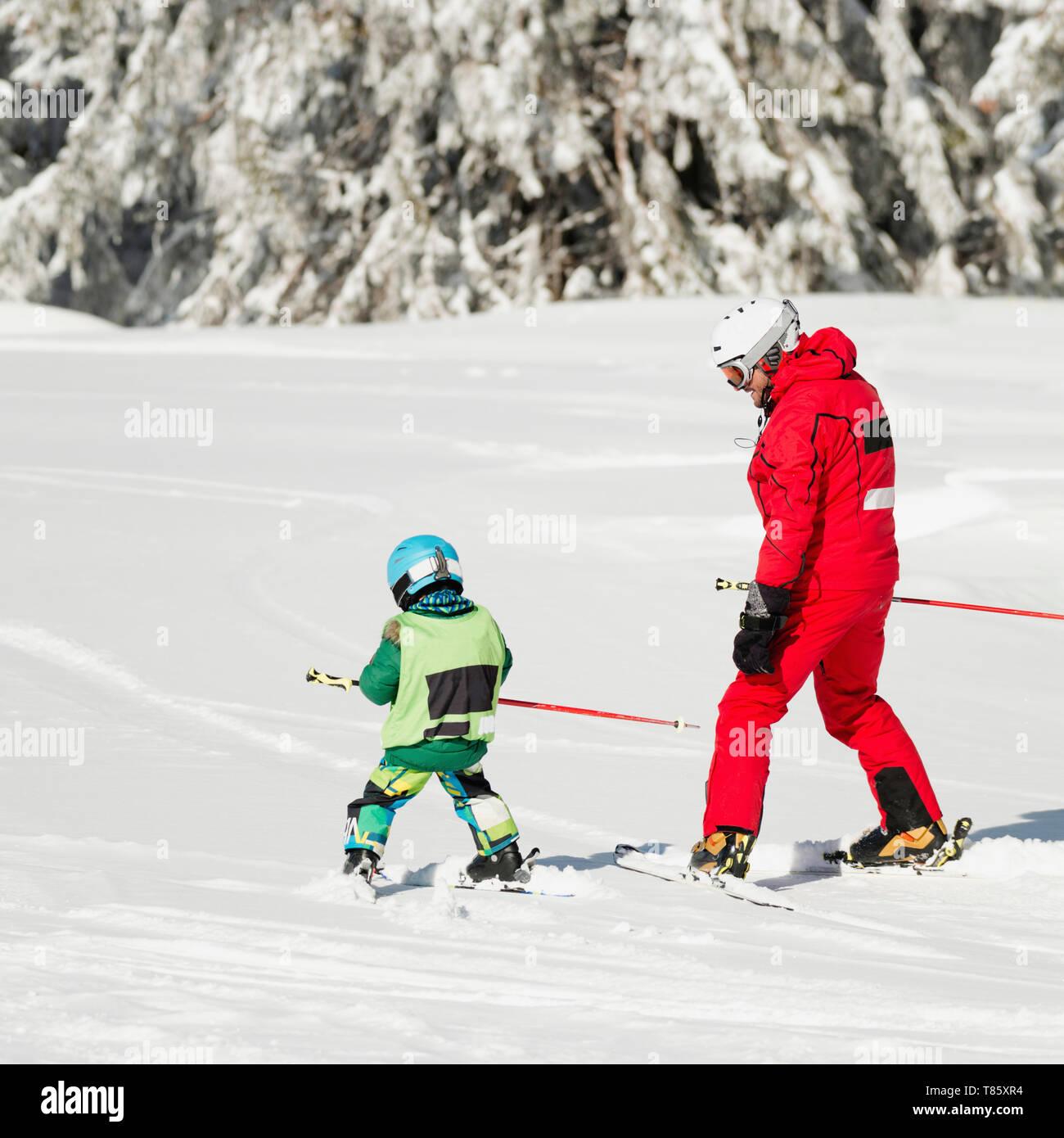 Ski lesson - Stock Image