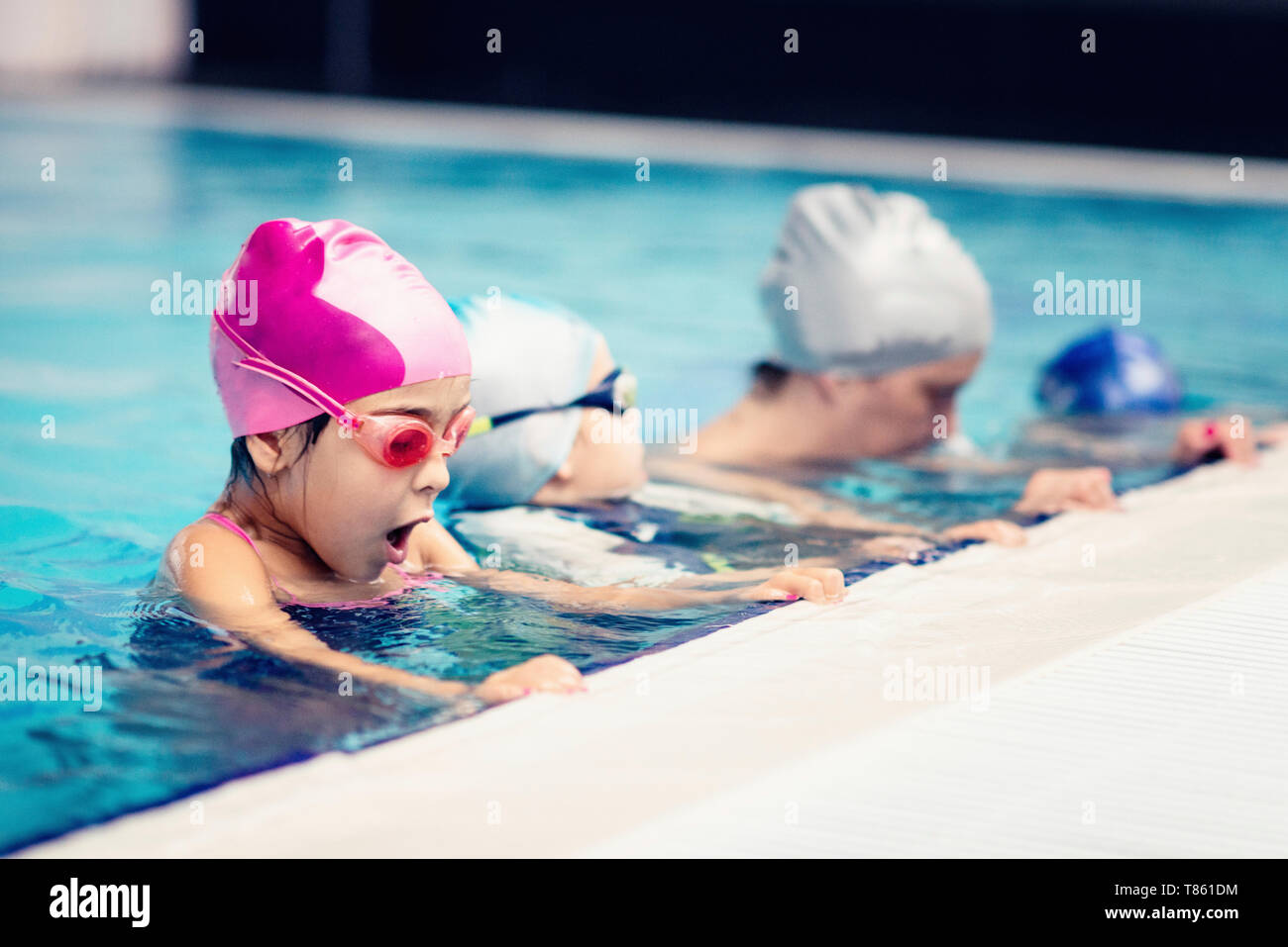 Group swimming lesson Stock Photo