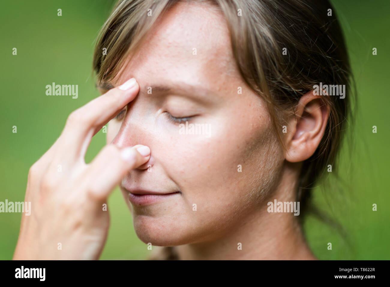 Pranayama yogic breathing - Stock Image