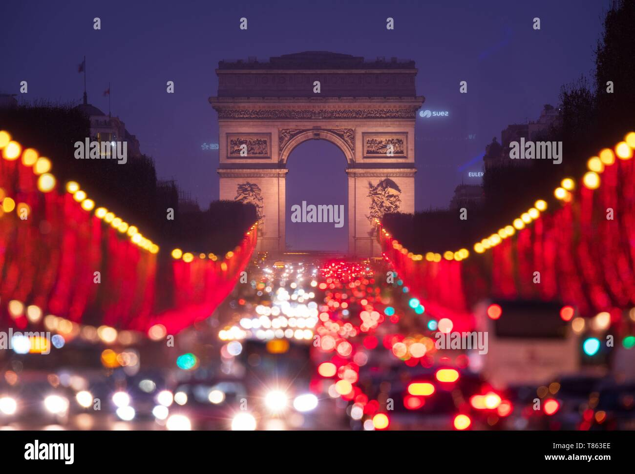 Christmas Lights In Paris.France Paris Champs Elysees With Christmas Lights Stock