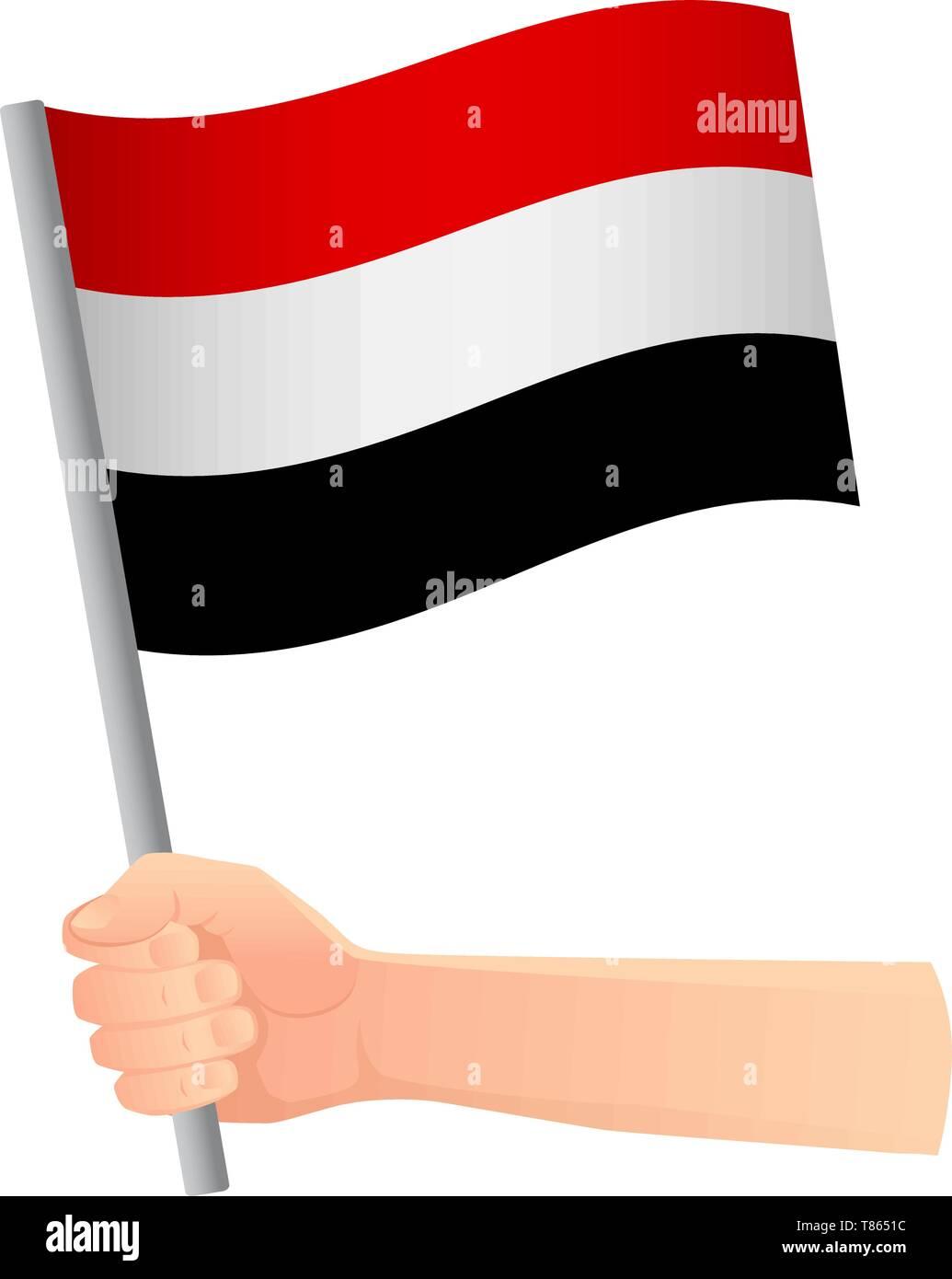 Yemen flag in hand. Patriotic background. National flag of Yemen vector illustration - Stock Image
