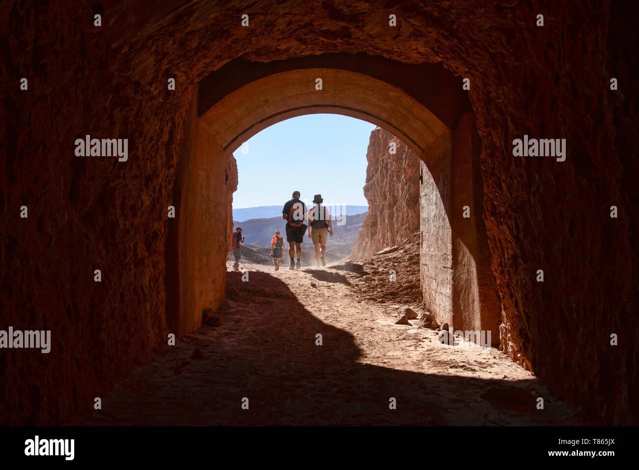 A tunnel through the mountain in San Pedro de Atacama, Chile, South America Stock Photo