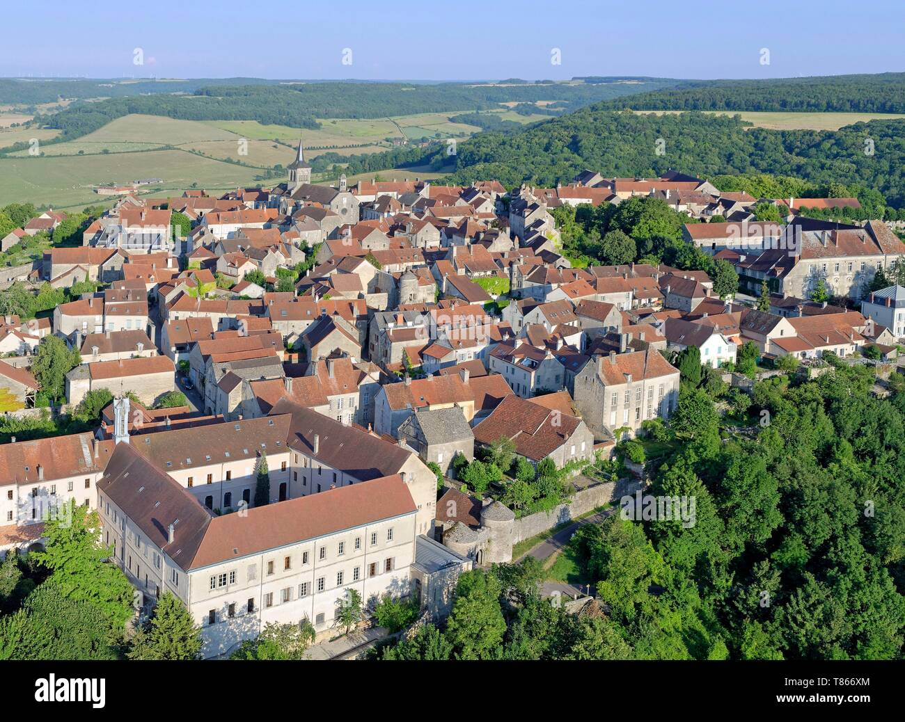 France, Cote d'Or, Flavigny sur Ozerain, more beautiful villages of Franceaer (aerial view) - Stock Image