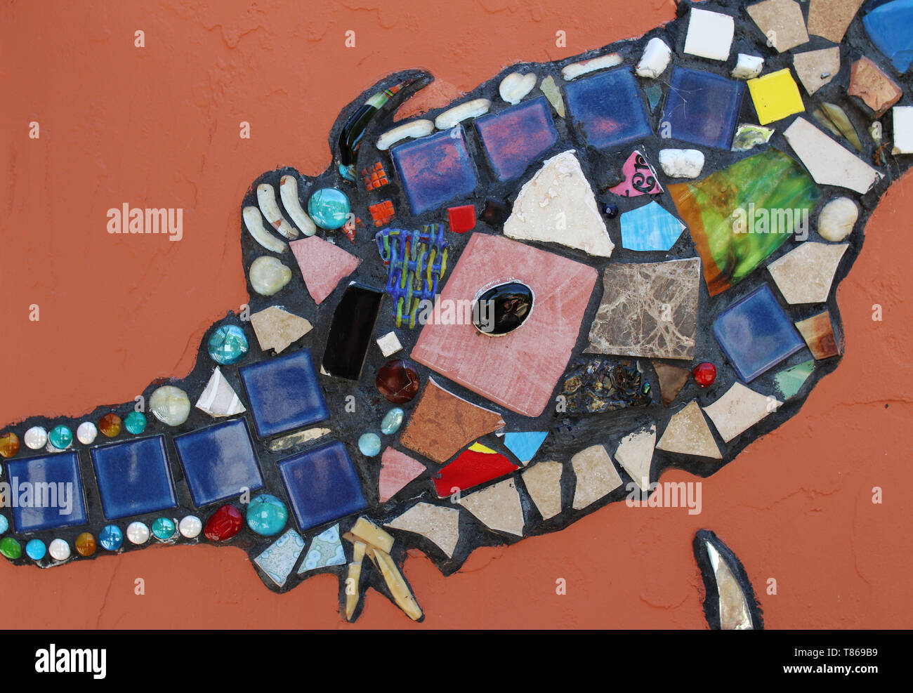 Colorful Mosaic Tile Decoration In Spanish Style Broken Glass Art