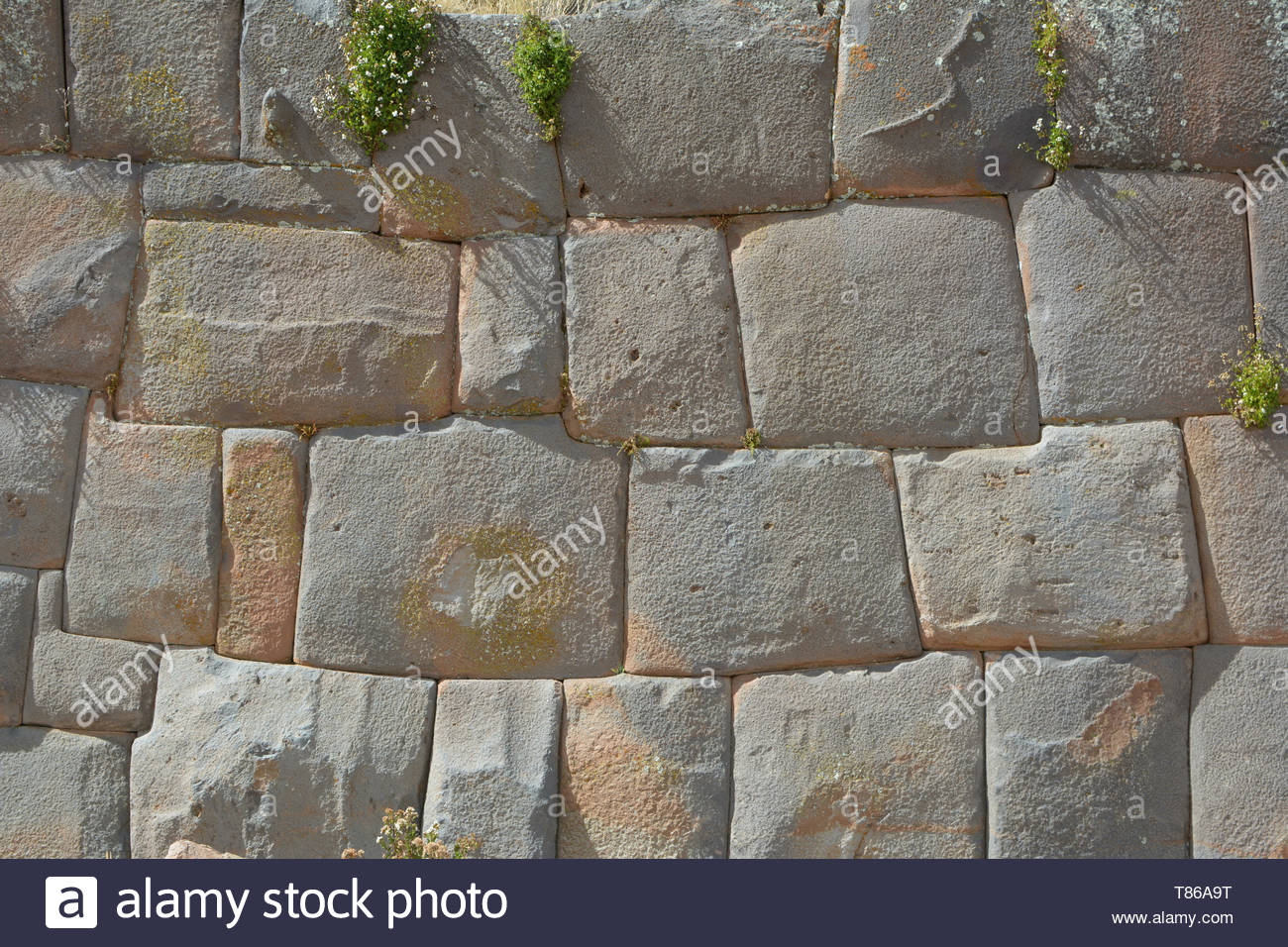 Polygonal and rectangular textured natural megalithic Stone wall made by ancient Incas from Peru and Bolivia of pre-colonial Colombian South America - - Stock Image