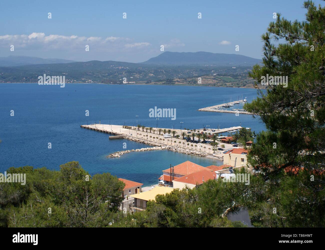 View of Pylos harbour and Navarino bay, Pylos, Peloponnese, Greece - Stock Image
