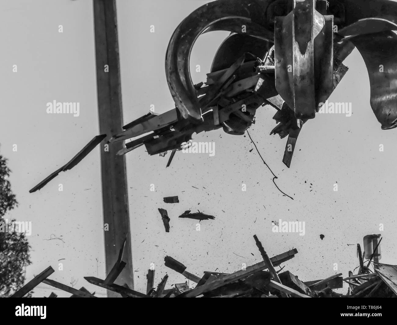 Excavator  working loading dump materials construction site claw closeup  - Stock Image