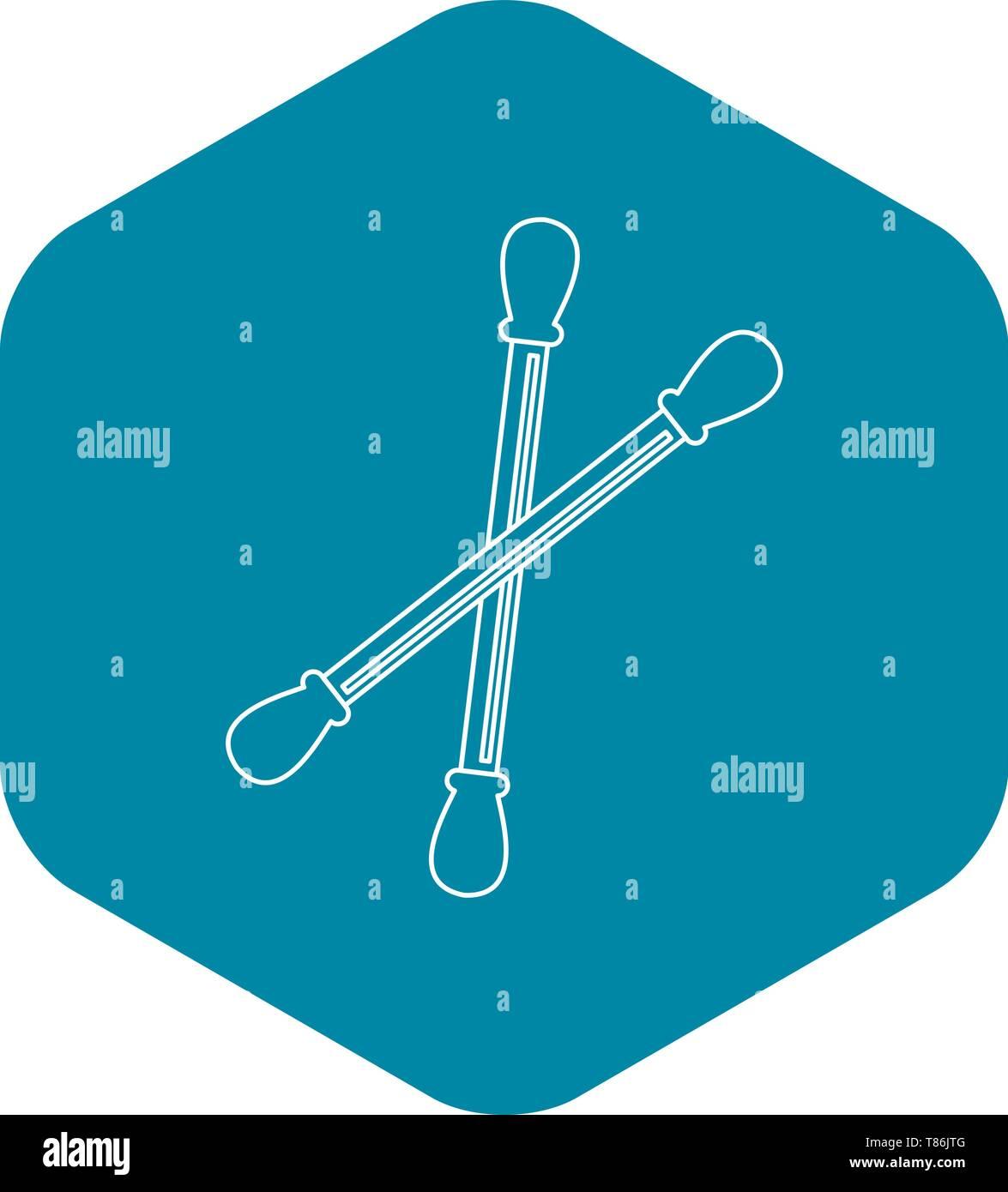 Cotton sticks icon, outline style Stock Vector