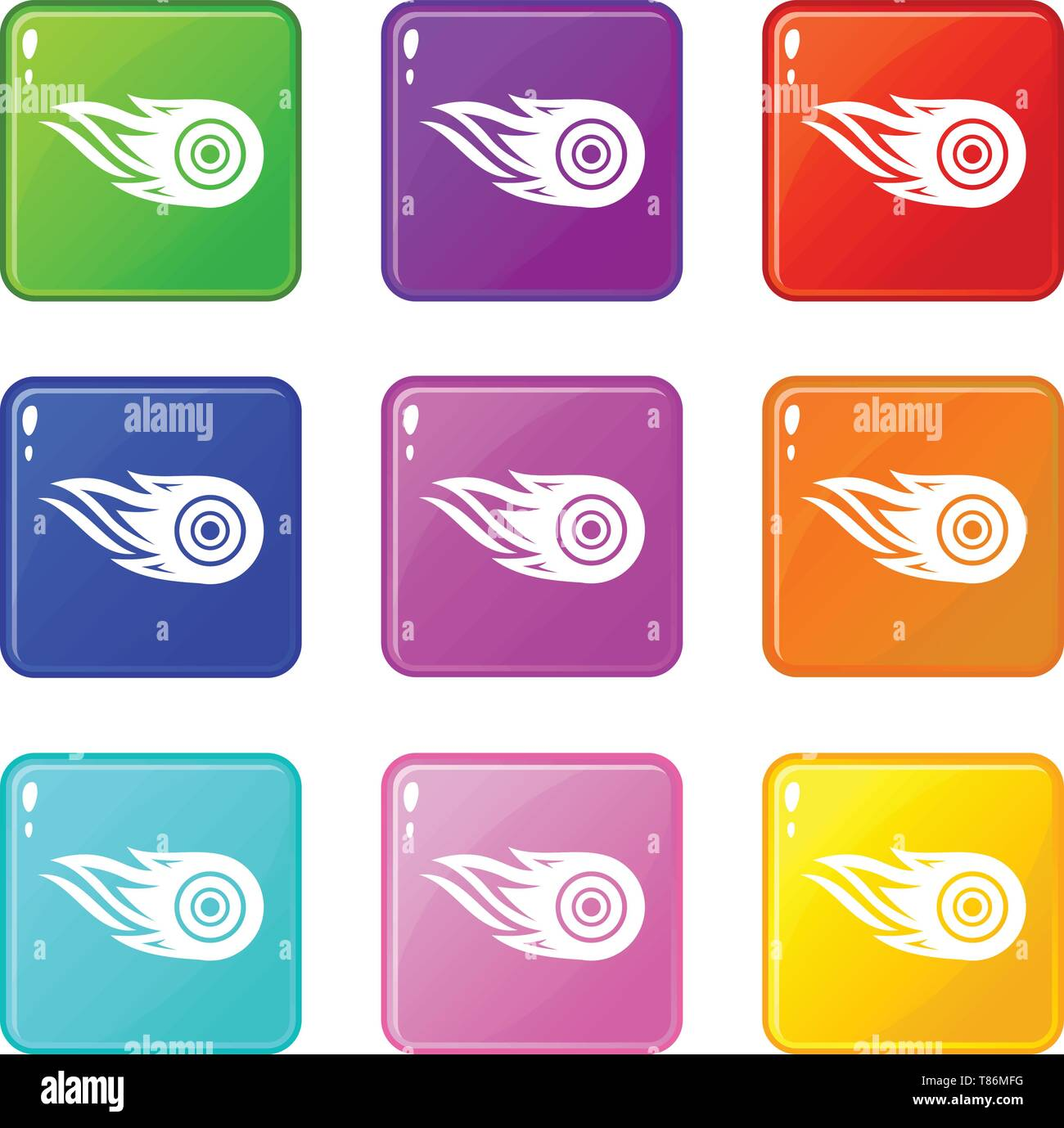 Wheel fire icons set 9 color collection - Stock Image