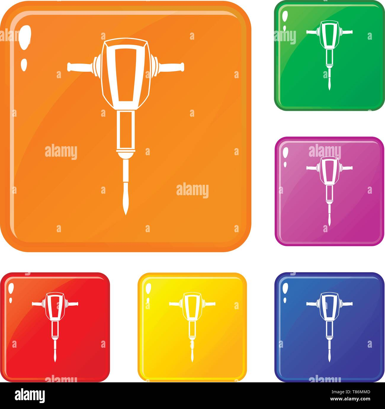 Pneumatic Plugger Hammer Icons Set Vector Color Stock Vector Art