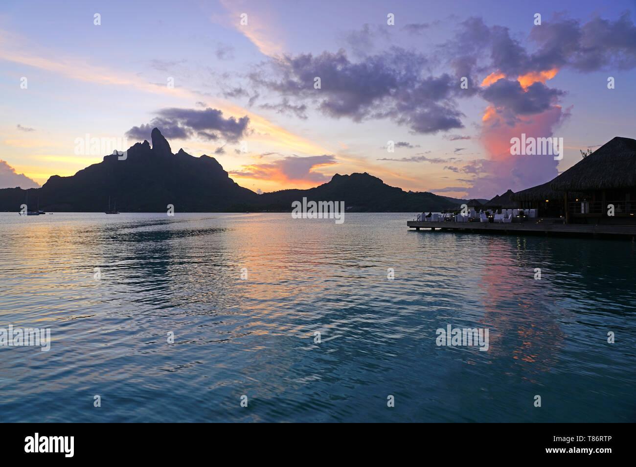 BORA BORA, FRENCH POLYNESIA -4 DEC 2018- Night view of the