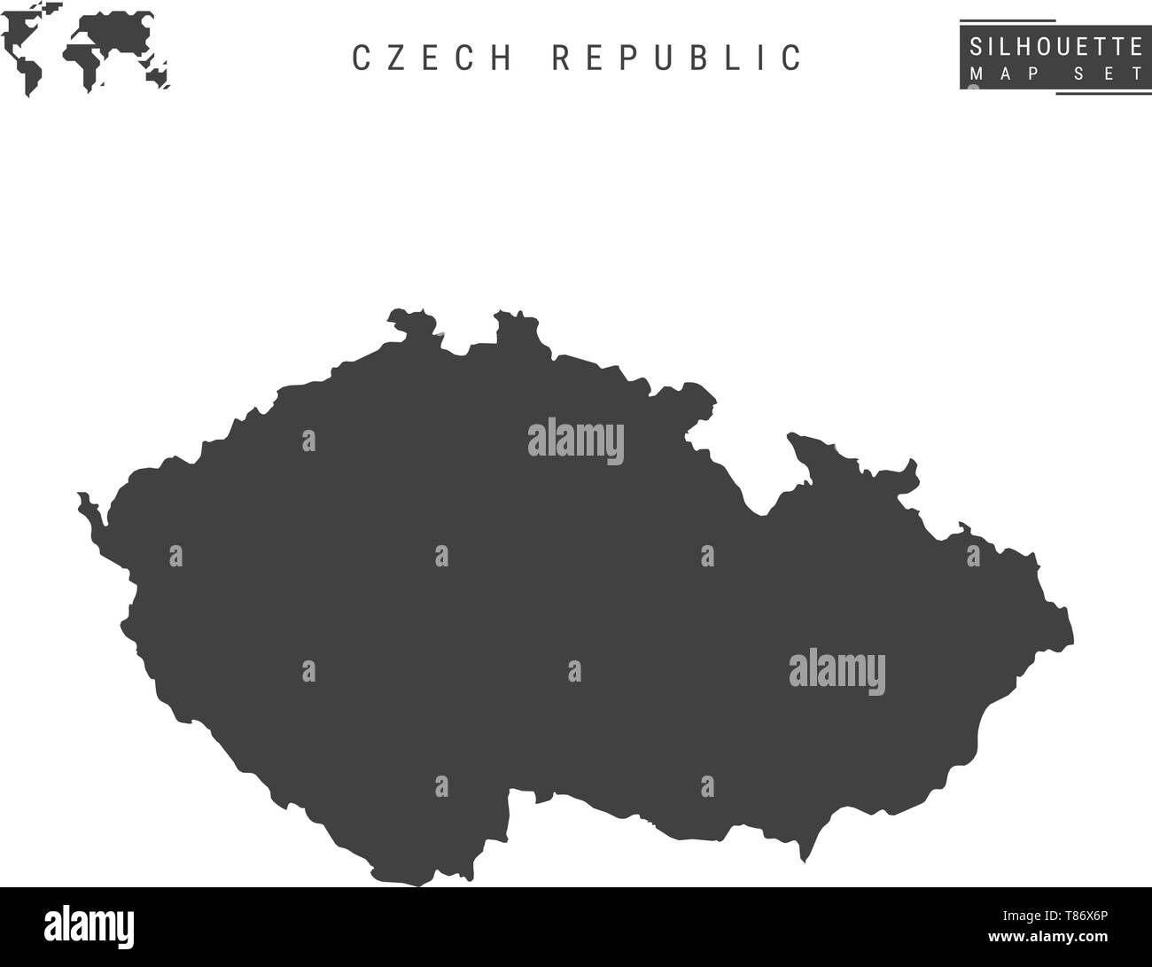 Czech Republic Blank Vector Map Isolated on White Background. High-Detailed Black Silhouette Map of Czech. - Stock Image