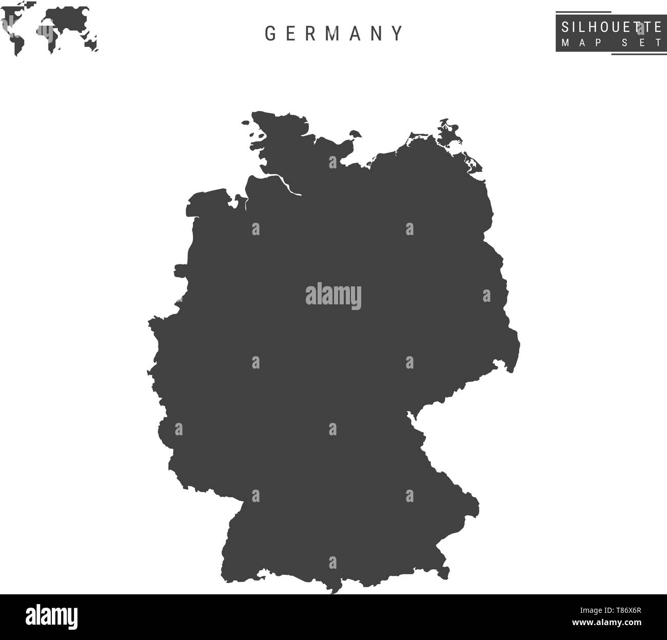 Germany Blank Vector Map Isolated on White Background. High-Detailed Black Silhouette Map of Germany. - Stock Vector